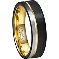 BestTungsten 6mm 8mm Black Gold Tungsten Carbide Rings for Men Women Wedding Bands Two Tone Offset Line Pipe Cut Brushed…