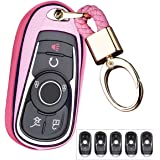 Pink Royalfox TM Luxury 2 3 4 5 Buttons TPU Smart keyless Entry Remote Key Fob case Cover for Buick Verano Regal Lacross Encore Envision Enclave GL8 2015 2016 2017 2018 Accessories,with Keychain