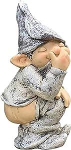 Carood Garden Gnome Statue, 5 Inch Polyresin, Naughty Garden Gnome for Lawn Ornaments, for Outdoor or House Decor