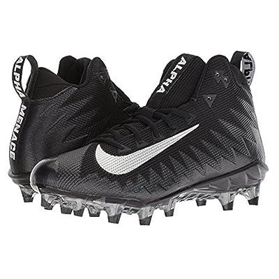 Nike Men's Alpha Menace Pro Mid Football Cleat Black/Metallic Silver Size 10.5 M US | Basketball