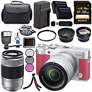 Fujifilm X-A3 Digital Camera w/ 16-50mm Lens (Pink) 16531659 + Fujifilm XC 50-230mm f/4.5-6.7 OIS II Lens (Silver) 16460795 + Battery + Charger + Sony 128GB SDXC Card + Case + Tripod + Flash Bundle