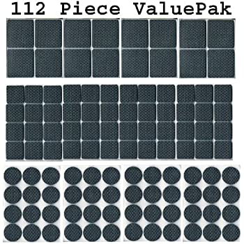 112 Piece Rubber Anti Skid Pad Value Pack (Furniture And Floor Protectors)  112