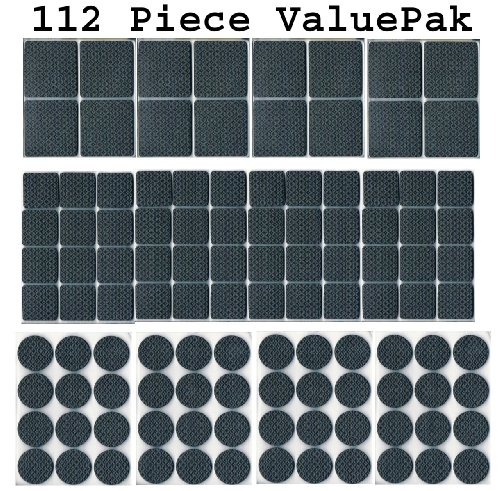 112-piece-rubber-anti-skid-pad-value-pack-furniture-and-floor-protectors-112-pcs-of-assorted-sizes