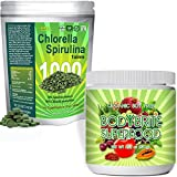 Green Superfood Spirulina Chlorella Bundle: 1000 Chlorella Spirulina Tablets PLUS Total BodyBrite smoothie powder. Benefits diet, weight loss, detox & energy. Amazing soy-free super food supplement