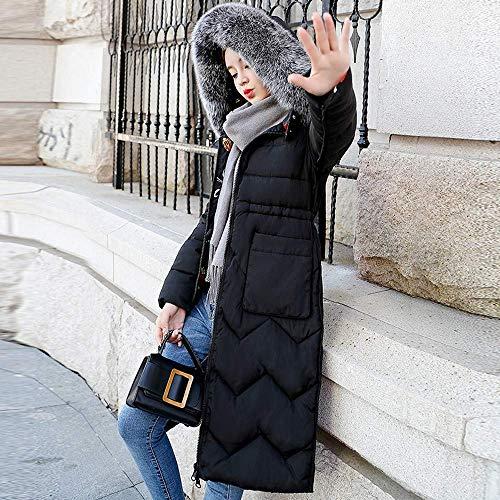 Chic Hx Parka Trapuntato Lungo Cappotto Giacche Collo Caldo Ragazza Con Cappuccio Imbottito Schwarz Invernale Pelliccia In Rimovibile Donna Fashion RrRw0