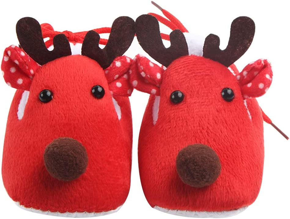 PRENKIN Zapatos Suave /Único para beb/é Ciervos del beb/é reci/én Nacido de Navidad Zapatos Zapatillas de casa Fleece Walker Antideslizante