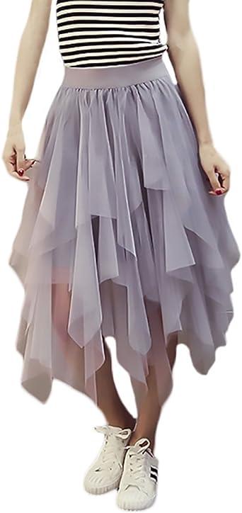 Faldas Verano Mujer Elegantes Malla Faldas Midi Cintura Alta Color ...