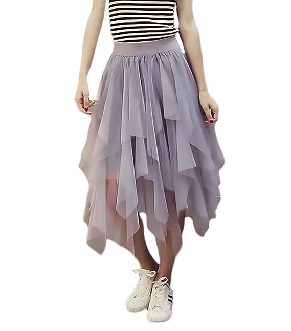 3210c0ce9e Faldas Verano Mujer Elegantes Malla Faldas Midi Cintura Alta Color Fiesta  Estilo Solido Asimetricas Irregular Moda Casual Falda Tul Medium Largos  Niña ...