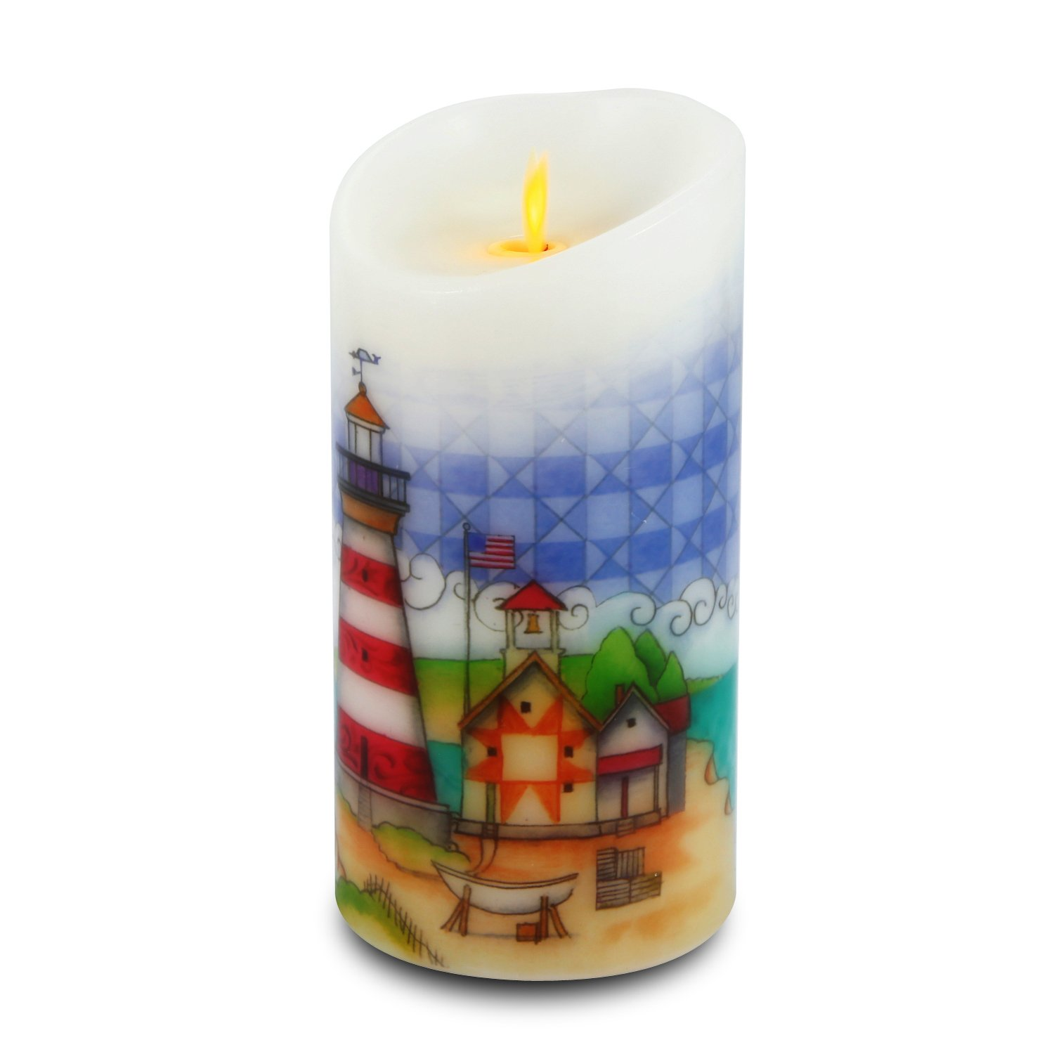 Ksperway Flameless Wax Candles, Moving Wick LED Pillar Candle with Blow ON/Off Control,Timer and Remote 3.5 by 7 Inch Picture (Lighthouse) by Ksperway (Image #4)