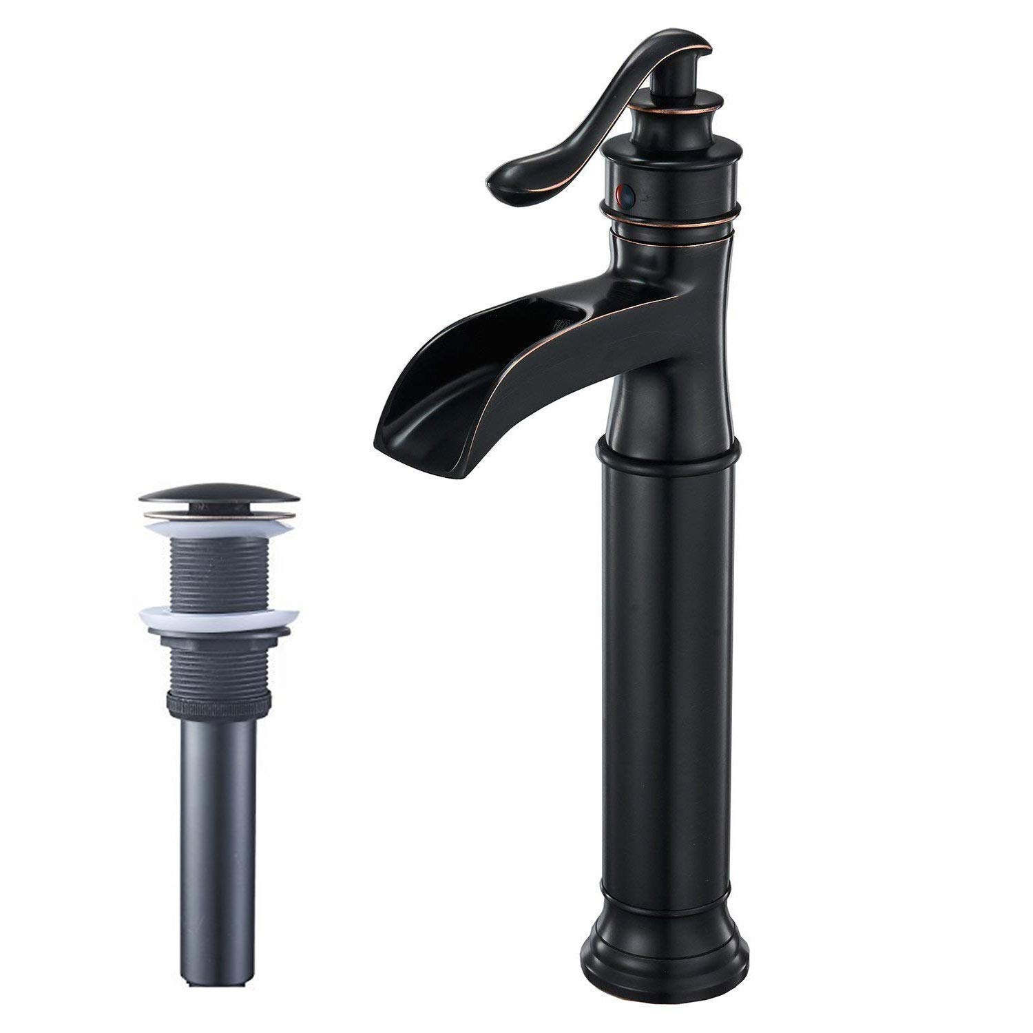 BWE Waterfall Spout Oil Rubbed Bronze Single Handle One Hole Bathroom Sink Vessel Faucet ORB Lavatory Faucets Deck Mount Tall Body Commercial by BWE