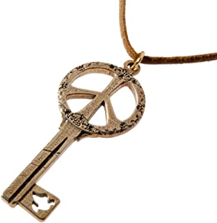 product image for Key to Peace Peace Bronze Pendant Necklace on Adjustable Natural Fiber Cord