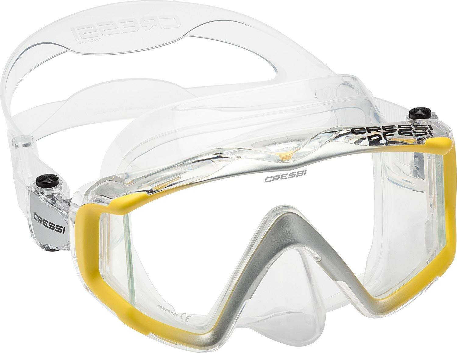 Cressi Liberty Triside Mask, Clear Yellow Silver