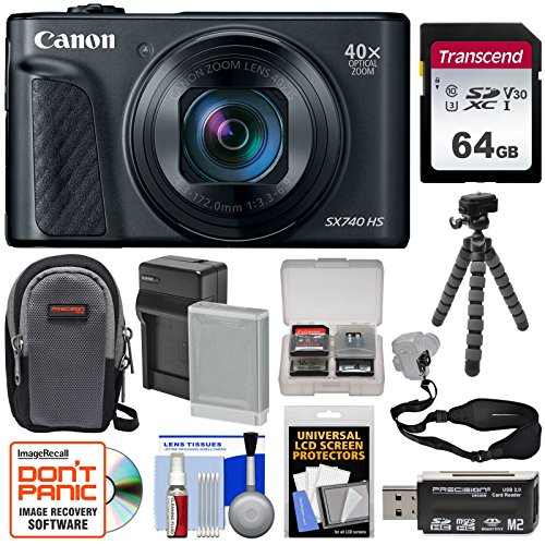 Canon PowerShot SX740 HS Wi-Fi 4K Digital Camera (Black) with 64GB Card + Battery & Charger + Case + Tripod + Strap Kit