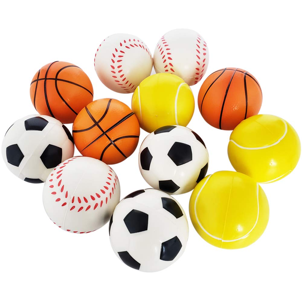 Football Basketball Baseball Tennis 12PCS Soft Foam Balls Stress Relief Toy Balls for Party Favor Prizes and Gifts Gtlzlz Sports Balls Toy for Kids