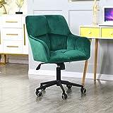 Modern Home Office Desk Chairs 360°Swivel,Velvet Upholstery,Larger Wider Seat,Accent Chair for Desk on Rolling Wheels,Adjusta