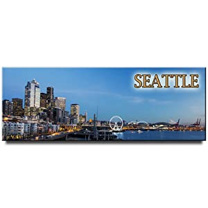 Seattle panoramic fridge magnet Washington travel souvenir