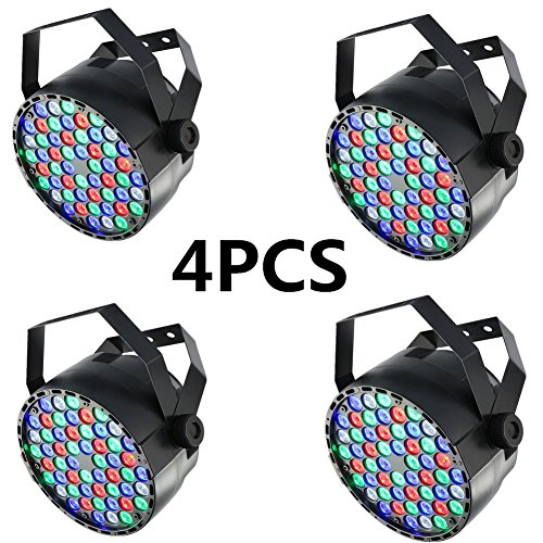 XPC Stage Lights 4 Pcs 54x3W LED DJ PAR Light RGBW Stage Lighting DMX 512 Control for Disco Club Home Party Bar (4PCS)