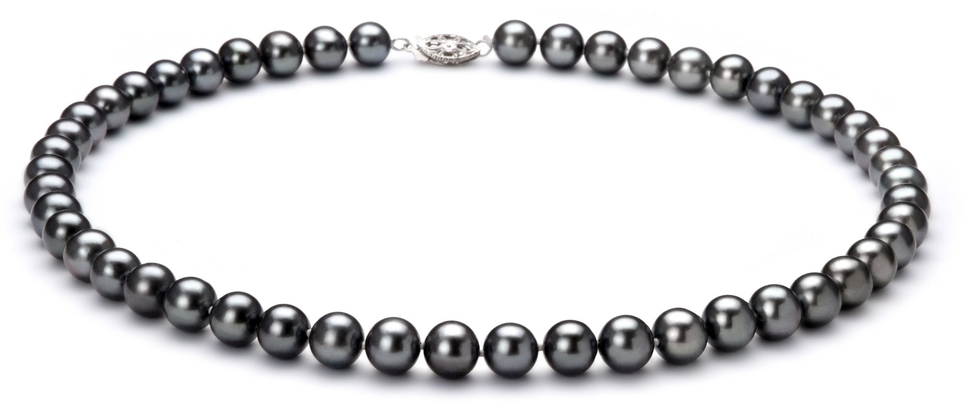 Black 7.5-8.5mm AA Quality Freshwater 925 Sterling Silver Cultured Pearl Necklace-16 in Chocker length