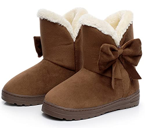 513e6669c2967 Bumud Women's Winter Suede Snow Ankle Boots Faux Fur Flat Shoes (5.5 B(M)  US, Coffee)