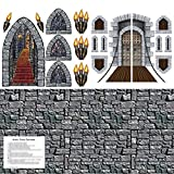 Castle Party Decorations - Stone Wall Backdrop (plastic 4x30 feet), Stairway, Window & Torch Props, Castle Door & Window Props and Castle Trivia Questions