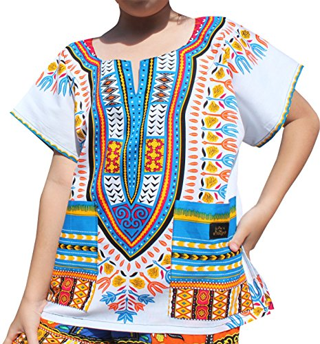 - Raan Pah Muang RaanPahMuang Branded Childrens African Dashiki Short Sleeve Shirt In White Tones, 1-3 Years Tall, New White SkyBlue