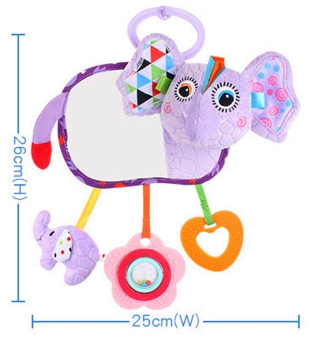 Royarebar Women's Accessories Cosmetic Mirror Kids Infant Lovely Elephant Rolling Hand Grasp Mirrors Toy Colorful Safety Mirror Gift