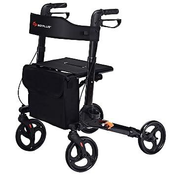 COSTWAY Andador plegable con asiento y respaldo | Silla de ...