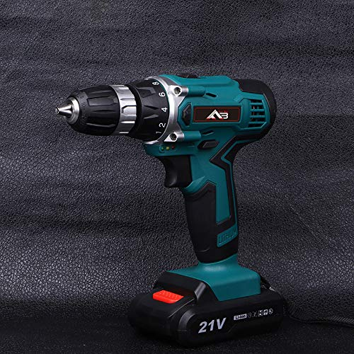 2 Speed Compact Electrical Drill 1 Hr Fast Charger Flybiz 21V 1750 //min Professional Industrial Chargable Cordless Drill Driver with 2pcs 1500mAh Li-ion Battery