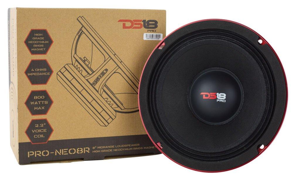 DS18 PRO-NEO8R 400W RMS 800W Max Mid-High Neodymium Magnet Midrange 4 Ω Speaker, 8''