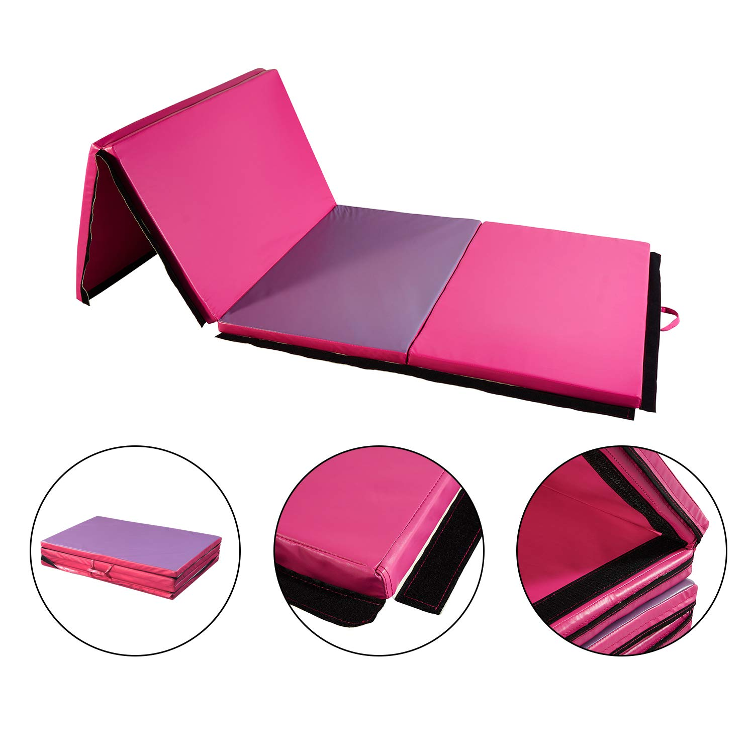 Wonlink 4' x 10' x 2'' Durable Foldable Gymnastic Mat for Various Exercise Activities