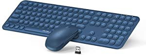 Wireless Keyboard and Mouse Combo, Jelly Comb 2.4GHz Full-Size Compact Wireless Mouse Keyboard with Numeric Keypad for Laptop/PC- Round Keycaps (Blue)