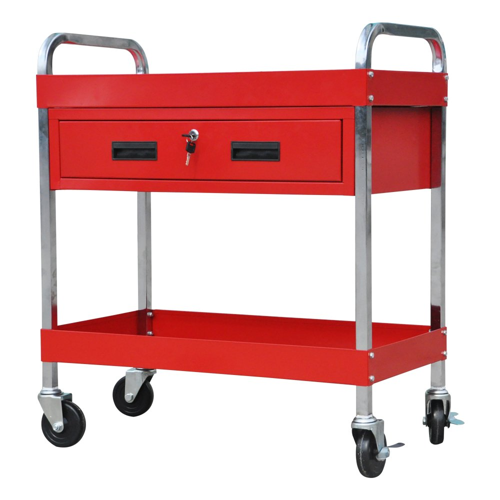 Docheer Heavy Duty Steel Tool Cart Service Cart Rolling Tool Chest Box 350lbs with 2 Shelves and Locking Drawer Tray, w/ Swivel 360° Wheels, Red