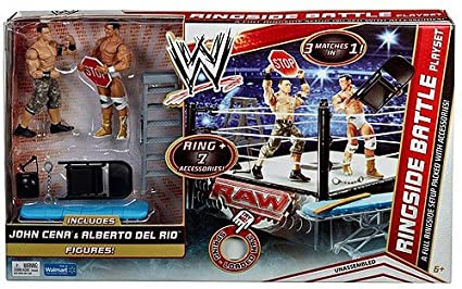 Amazon Com Wwe Ringside Battle Playset John Cena Alberto Del Rio
