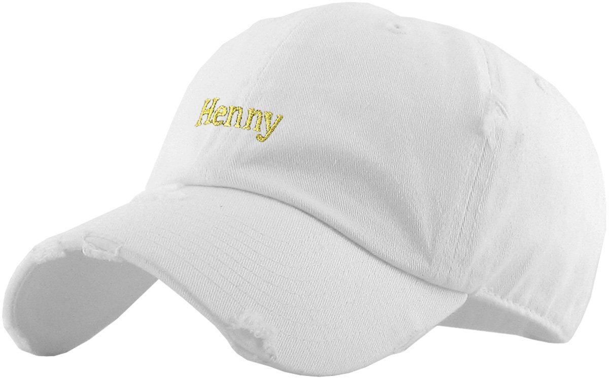 KBSV-023 WHT Henny Dad Hat Baseball Cap Polo Style Adjustable