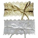 Womtop Woman Belts 2 Pcs Faux Leather Wrap Around Obi Style Waist Band Belt Cinch Boho Belt (Gold+Sliver, Free)