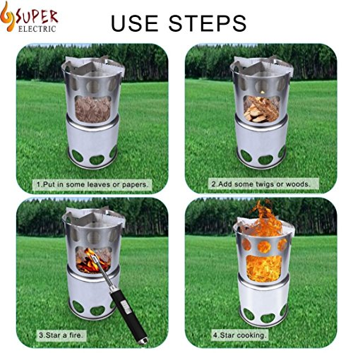 Barbeque Stove, Elevin(TM) Portable Burning Stove Pocket Folding Camp Stove Mini Fire Spout Barbeque (Silver) by Elevin(TM) _ Outdoor & Sports (Image #5)