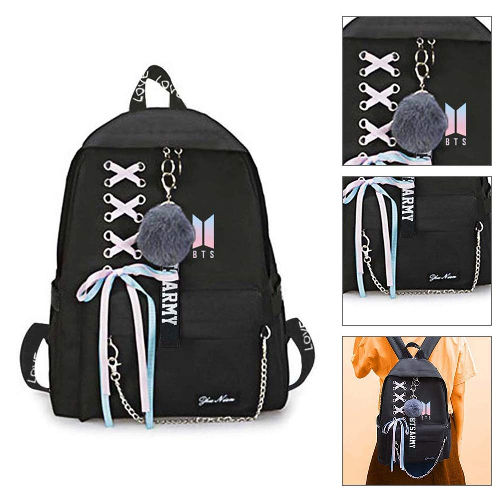 Youyouchard BTS Backpack for Women Girls for Laptop Hiking Travel with A BTS Bracelet