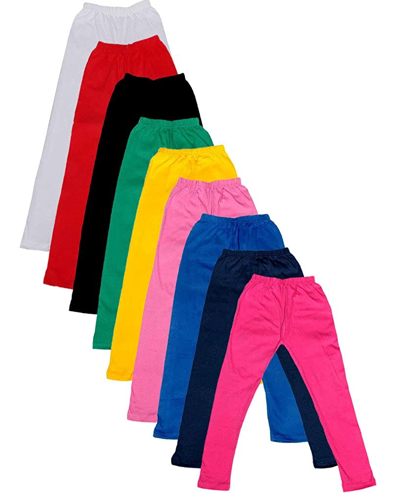 Indistar Big Girls Cotton Full Ankle Length Solid Leggings Pack of 9 -Multiple Colors-11-12 Years