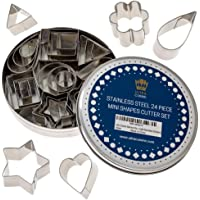 Pie Crust & Cookie Cutter Set - Mini Molds to Cut Out Pastry Dough Design - Tiny Decorative Metal Stamps Leaf, Heart…