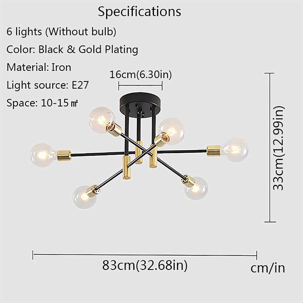 4 Lights Mid-Century Modern Sputnik Chandelier DIY Adjustable Rod ...