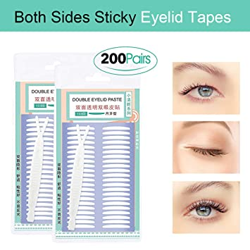 200 Pairs Both Sides Sticky Invisible Beauty Double Eyelid Tape Stickers Instant Eyelid Lift Without Surgery
