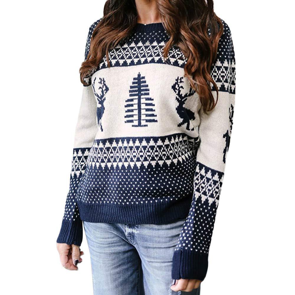 Robemon✬Chandail Pull Sweater Manteau Noël Tunique Tricot Chemisier Mode Hiver Automne Casual Tissu Motif Géométrique Col Rond Wapiti Tops