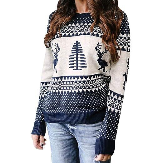 Luckycat Suéter de Navidad de Las Mujeres de Manga Larga con Cuello en v árbol de Navidad Tejer suéter Tops: Amazon.es: Ropa y accesorios