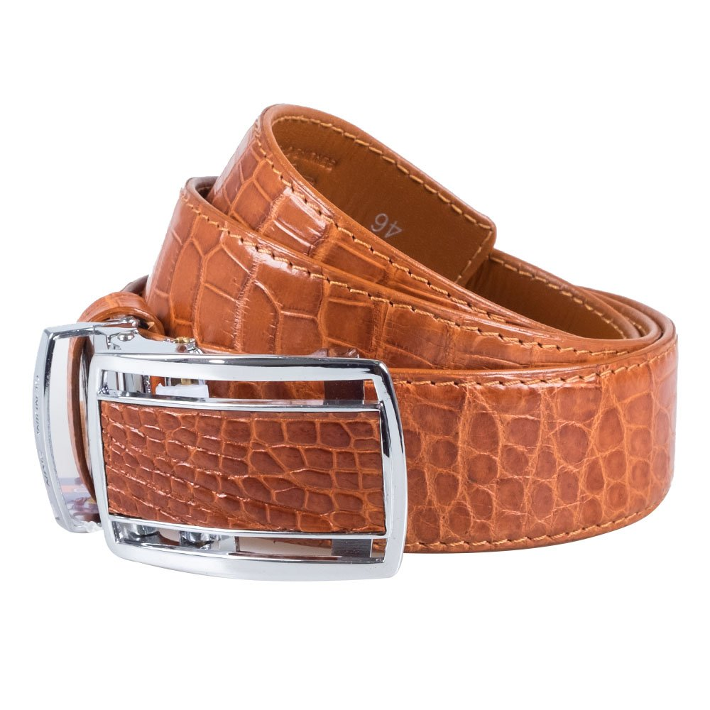 Genuine Crocodile Belly Skin Real Leather Brown Men's Exotic Country Belt Buckle