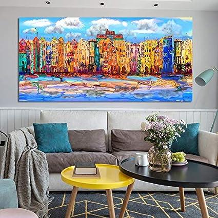 Moderne Kunst Schilderij Canvas Art Posters En Prints Abstract Aquarel Architectuur Woonkamer Decoratie Schilderen Frameloze Schilderij 30x60cm Amazon Nl