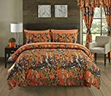 Regal Comfort The Woods Orange Camouflage Twin 4 Piece Premium Luxury Comforter, Bed Skirt, and 2 Pillow Shams Set - Camo Bedding Set For Hunters Cabin or Rustic Lodge Teens Boys and Girls