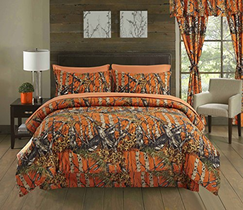 Kids Full Wood - Regal Comfort The Woods Orange Camouflage Queen 4 Piece Premium Luxury Comforter, Bed Skirt, and 2 Pillow Shams Set - Camo Bedding Set For Hunters Cabin or Rustic Lodge Teens Boys and Girls