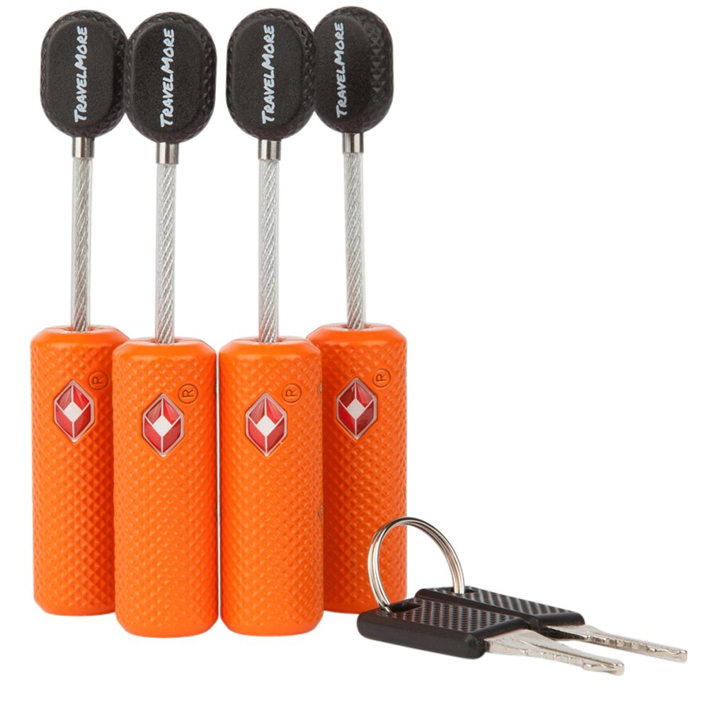 4 Pack TSA Approved Luggage Locks with Keys for Travel – Flexible Ultra Secure Mini Key Padlock & Metal Zinc Alloy Material – Orange