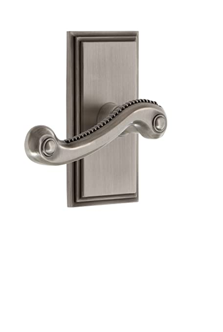 Grandeur 825768 Carre Plate Privacy with Newport Lever in Antique Pewter 2.75