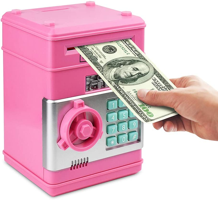 Amazon Com Setibre Piggy Bank Electronic Atm Password Cash Coin Can Auto Scroll Paper Money Saving Box Toy Gift For Kids Pink Toys Games